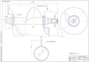 Сборочный чертеж винтового рабочего органа в масштаб 1:2