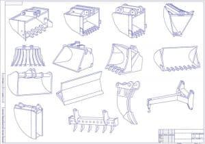 Чертеж вариантов навесного оборудования (формат А1 )