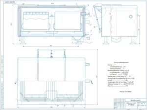 Чертёж общего вида варочного котла К7-ФВ2-Е для термической обработки паром окороков и субпродуктов выполнен в масштабе 1:5 на формате А1