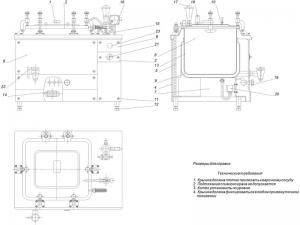 Чертёж общего вида пищеварочного котла модификации КЕ-100 с техническими требованиями