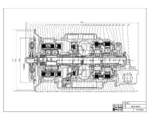 Чертеж сборочный автоматической коробки передач Voith 864,3 для автобуса (формат А1 )
