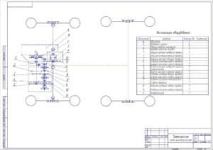 Чертеж кинематической схемы трансмиссии. Приведена таблица экспликации оборудования, в которой перечислены все отмеченные на чертеже позиции (формат А2 )