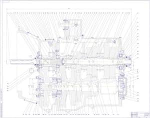 Чертеж коробки передач КАМАЗ. На чертеже выполнен продольный разрез КПП. Проставлены конструкционные размеры и обозначены все позиции сборочных единиц и деталей (формат А0 )