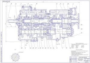 Чертеж коробки перемены передач автомобиля МАЗ-64229 в масштабе 1:4. Прописаны технические характеристики и технические требования. Выполнен выносной разрез и указаны все конструкционные размеры. Обозначены позиции сборочных единиц (формат А1 )