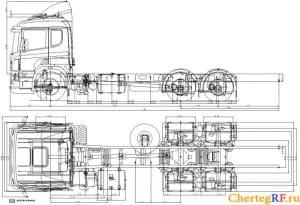 Габаритный чертеж грузового автомобиля марки КамАЗ