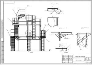 13.Сборочный чертеж помостов и лестниц, в масштабе 1:25, виды А, Б-Б, Г-Г и В-В (повернуто), с указанными размерами (формат А2)