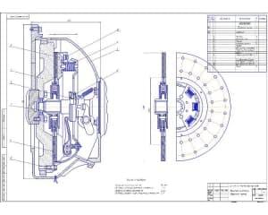 Сборочный чертеж механизма сцепления автомобиля ГАЗ 3307 (формат А1 )