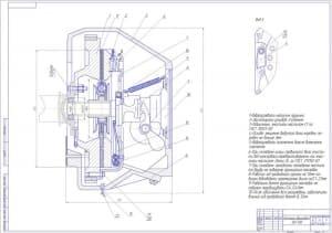 Сборочный чертеж сцепления автомобиля ЗИЛ-130 с перечислением наименований позиций (формат А1 )