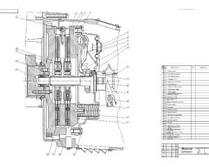 Чертеж механизма сцепления КАМАЗ 5320 (формат А2 )