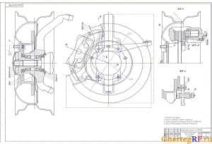 Представлен чертеж в сборе тормоза переднего со ступицей. Технические условия: *размеры для справок; левый – изображен, правый – зеркальный; смазка подшипников колес передних по ТУ ВАЗ-2310; болты и гайки завернуть согласно ТУ ВАЗ-2311. К данному чертежу