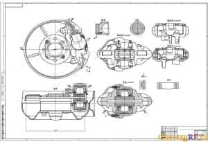 Представлен чертеж механизма. Главные детали выделены графически. Масштаб чертежа 1:1 (формат А1)