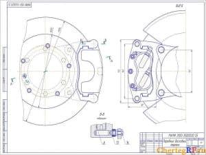 Чертеж сборочный переднего дискового тормоза. Чертеж представлен с разной конфигурацией видов и масштабом 1:1 (формат А2)