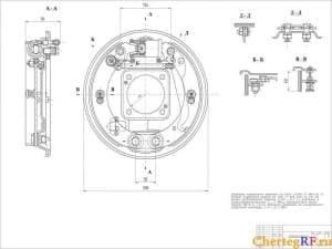 Чертеж сборного тормозного барабана автомобиля ГАЗ 2410 с техническими требованиями: величина тормозного момента по ГОСТ 22895-77 Mm=761 Н;