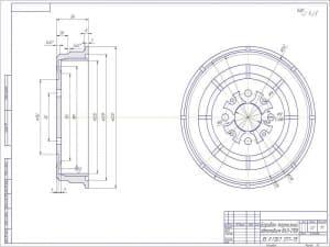 Чертеж детали барабана тормозного автомобиля ВАЗ-2108. Чертеж представлен с указанием размеров. Масса указанной детали в чертеже составляет 3,2. Масштаб чертежа 1:1 (формат А2)