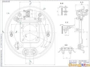 Чертеж тормозного барабана автомобиля. На данном чертеже более детально рассмотрены некоторые части тормозного барабана. Представлены конкретные размеры (формат А1)