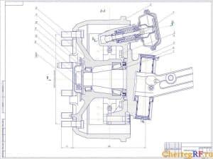 Чертеж тормозного механизма. Чертеж представлен с графическим выделением главных деталей и размерами. Масштаб данного чертежа 1:1 (формат А1)