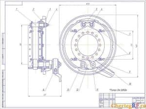 Чертеж тормозного механизма ведущих колес КРАЗ с указанием размеров для справок. Масса механизма составляет 48,5 кг. Масштаб чертежа 1:2,5 (формат А2)
