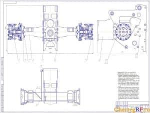 Общий вид чертежа тормозного механизма с техническими требованиями: компаунд КЛТ-75Т по ТУ 38.103.606-86; перед сборкой все детали и узлы моста промыть.