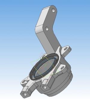 Чертеж 3D детали поворотный кулак автомобиля ВАЗ 2108 (формат А )