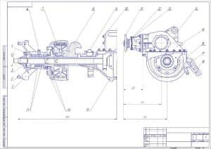 Сборочный чертеж привода ведущих колес автомобиля КрАЗ (формат А2 )