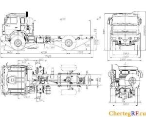 Чертеж общего вида грузового автомобиля КАМАЗ-55111