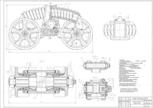 Сборочный чертеж каретки подвески ВТ-150 с техническими требованиями (формат А1 )