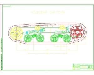 Сборочный чертеж ходовой системы трактора ВТ-100Д (формат А2 )