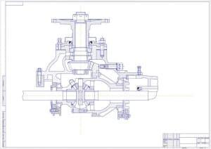 Сборочный чертеж главной передачи в поперечном разрезе (формат А1 )