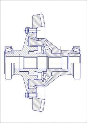 Чертеж продольного разреза дифференциала (формат А4 )