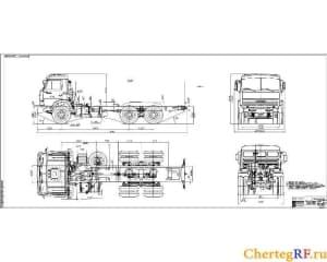 чертеж автомобильного шасси КАМАЗ-53215