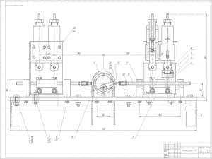 Чертеж схемы установки. На чертеже обозначены внешние размеры детали. Масштаб чертежа 1:1