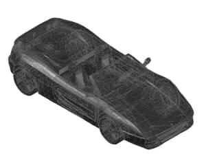 14.Чертеж вида общего автомобиля легкового Ferrari в 3D формате