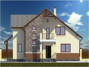 14.3-D модель фасада дома со стороны входа