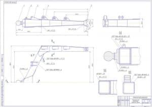 Сборочный чертеж толкающей рамы бульдозера Т-330 в масштабе 1:10