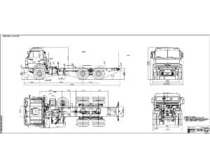 Габаритный чертеж автомобильного шасси КАМАЗ-53215  (формат А1х3 )