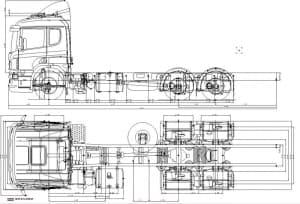 . Чертеж общего вида грузового тягача с указанием габаритных размеров  (формат А1 )