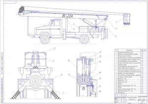 Общий чертеж устройств и приборов безопасности на грузовой машине с подъемником-люлькой ВС-22А