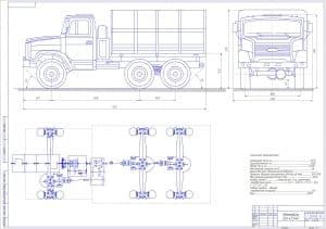 Чертеж общего вида автомобиля ЗИЛ-433440 с техническими характеристиками