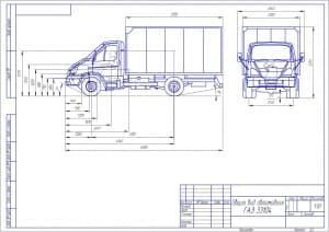 Чертеж общего вида передвижной мастерской на шасси автомобиля КАМАЗ-43114 с перечнем технологического оборудования