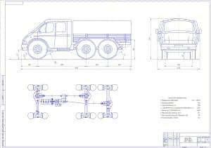 Чертеж общего вида автомобиля ГАЗ-330273 с техническими характеристиками