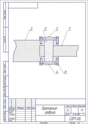 1.Сборочный чертеж крепления отвала с указанием деталей (формат А4 )