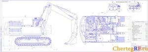 общего вида экскаватора с системой очистки рабочей жидкости с указанием размеров для справок, со спецификацией (формат А2х4 )
