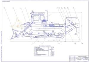Чертеж бульдозера рыхлителя Т-330