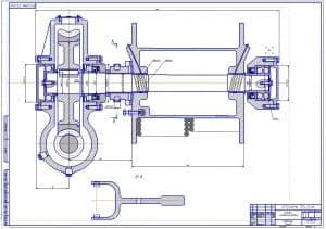 1.Чертеж вида спереди лебедки-самовытаскивателя в масштабе 1:1 с указание посадок и размеров (формат А1).