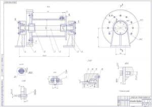 Сборочный чертеж барабанной установки с вынесенными сечениями узлов соединения (формат А1)