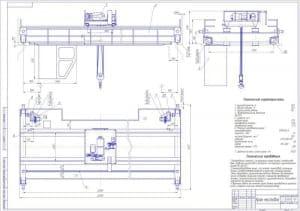 Сборочный чертеж мостового крана грузоподъемностью 12,5 тонн, высотой подъема 12,5 м, с техническими характеристиками и требованиями   (формат А1)