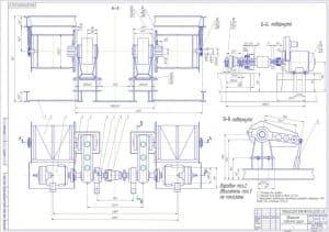Чертеж сборочный подъемный механизм груза с указанием размеров и предельных отклонений  (формат А1 ).