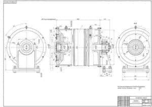 Сборочный чертеж барабана, указаны размеры и предельные отклонения (формат А1)