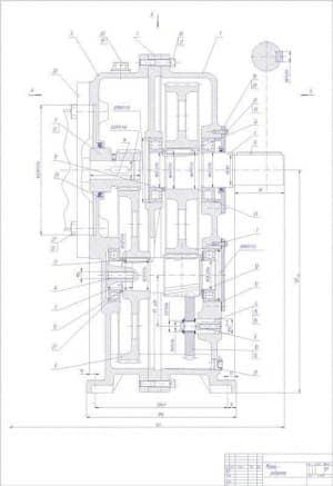 Чертеж мотора-редуктора с размерами и указанием деталей. Лист 1. СБ  (формат А1)