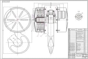 Сборочный чертеж крюковой подвески с обозначением стандартных деталей и вновь разрабатываемых